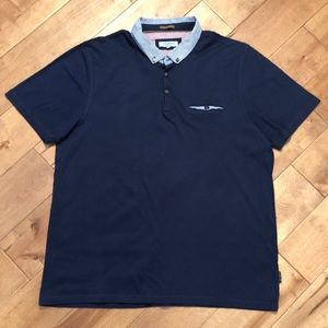 Ted Baker Woven Collar Polo Shirt Size 6/Med